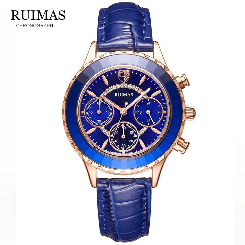 RUIMAS Women Watches Luxury Brand Blue Classic Chronograph Guessing Watch Waterproof Leather Quartz Ladies Wrist Watch clocks