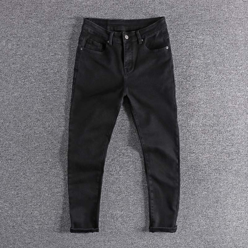 2019 New Black Trend Elastic Comfortable Youth Cropped Trousers Original Men's Jeans For Promotion High Quality Simple Designer