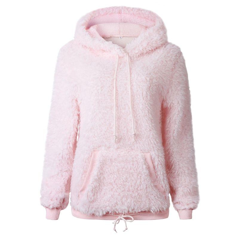 2019 Women Autumn Winter Hooded Faux Fur Fluffy Pullover Casual Long Sleeve Hoodies Sweatshirt Outwear With Front Pocke