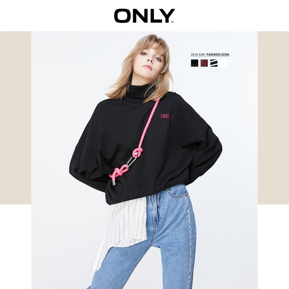 ONLY Women's 2019 Autumn New Loose Letter Casual Hoodie Sweatshirt  | 11939S565