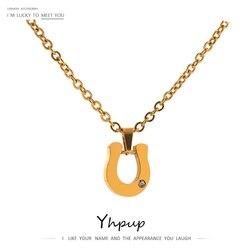 Yhpup Chic géométrique pendentif collier élégant en acier inoxydable or métal Texture 18 K collier collane donna déclaration 2021