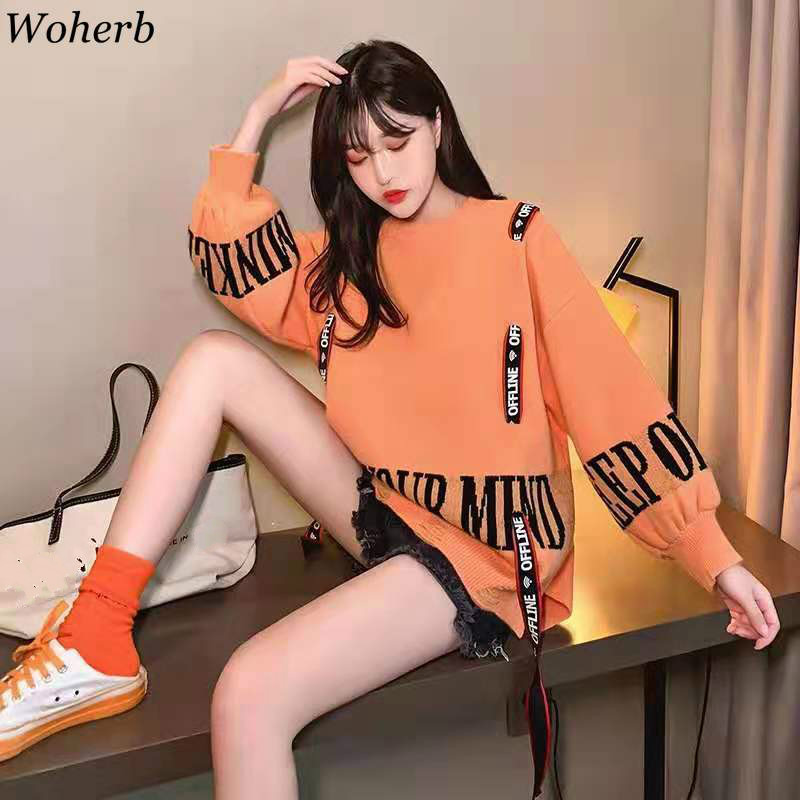 Woherb Korean Fashion Sweater Women Letter Bandage Long Sleeve Pullover Autumn New Clothes Loose Streetwear Pull Femme 91067