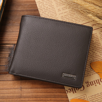 100% Genuine Leather Men Wallets Premium Product Real Cowhide Wallets for Man Short Black Walet Portefeuille Homme 7