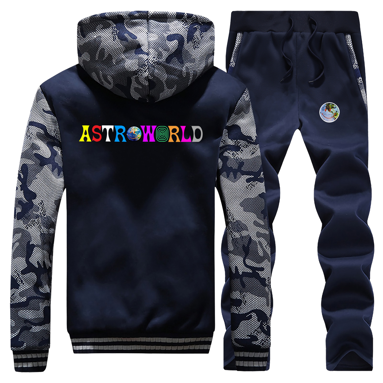 Hoodie Pants Set Men Tracksuit Astroworld Smile Defend The Earth Coat Track Suit Winter Thick Fleece Jacket 2 PCS Camo Plus Size