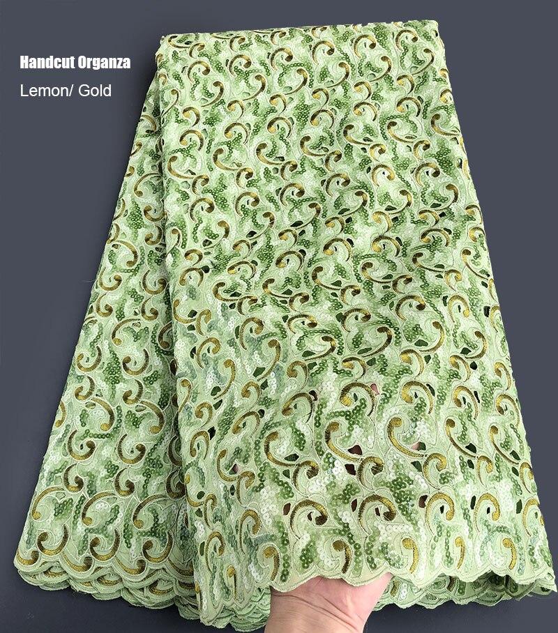 Ev ve Bahçe'ten Dantel'de Parlak pul uygun Afrika dantel büyük delikli Handuct organze kumaş Nijeryalı Gana dikiş elbise 5 yards iyi bir seçim'da  Grup 1