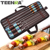 TEENRA 7Pcs Wooden Handle Barbecue Skewers Stainless Steel Safety Needle Picnic Tools BBQ Fork Set Outdoor Camping Tools