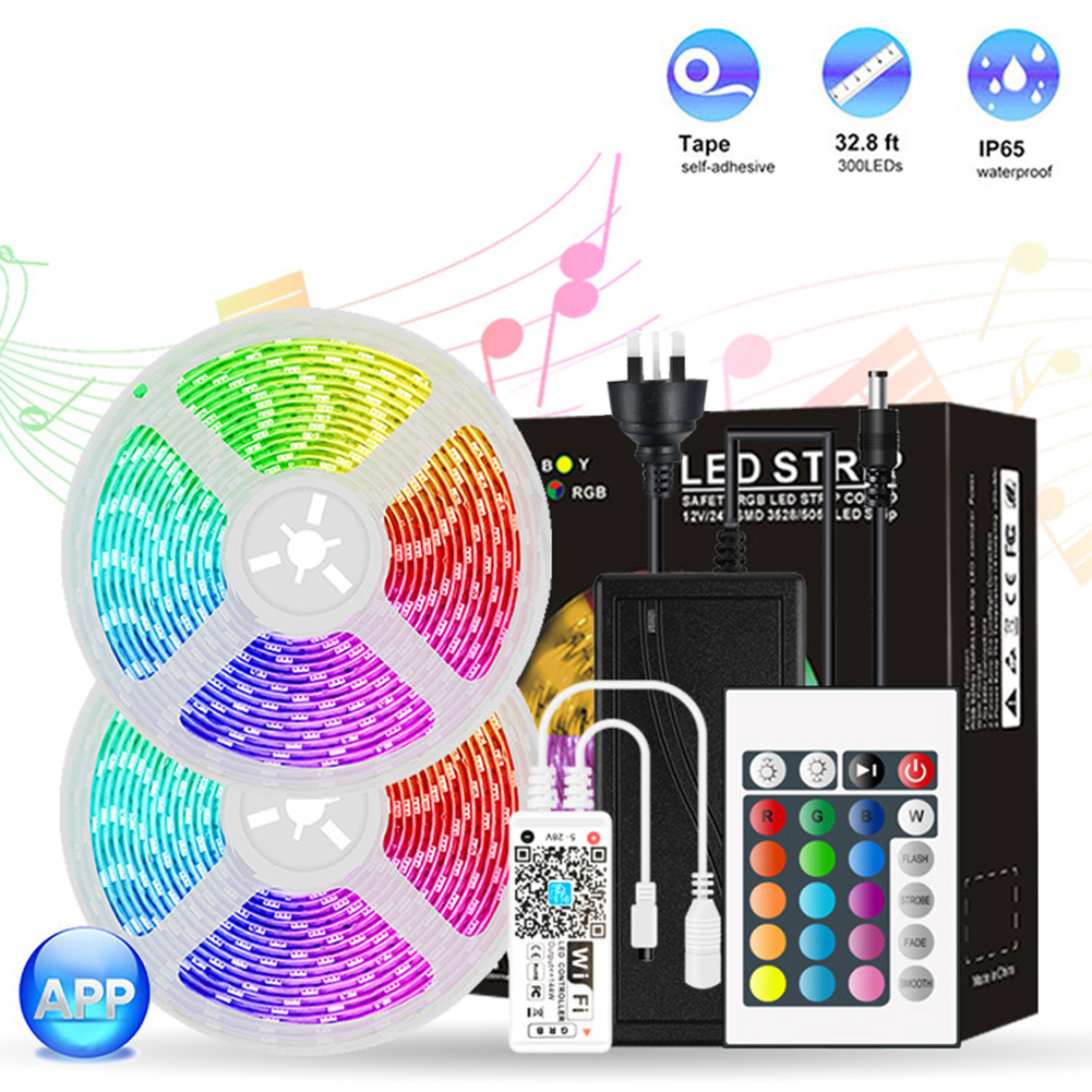 10m SMD 5050 RGB coloré LED bande lumière WiFi + télécommande Flexible ruban ruban lampe pour TV bureau fond décor