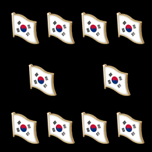 10PCS Korean Enamel Metal Country Flag Waving Lapel Pins Badge Brooch For Clothes