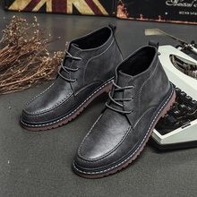 Size 38-47 Winter Boots Men Shoes Warm Fur Snow High Quality Cow Leather *6619