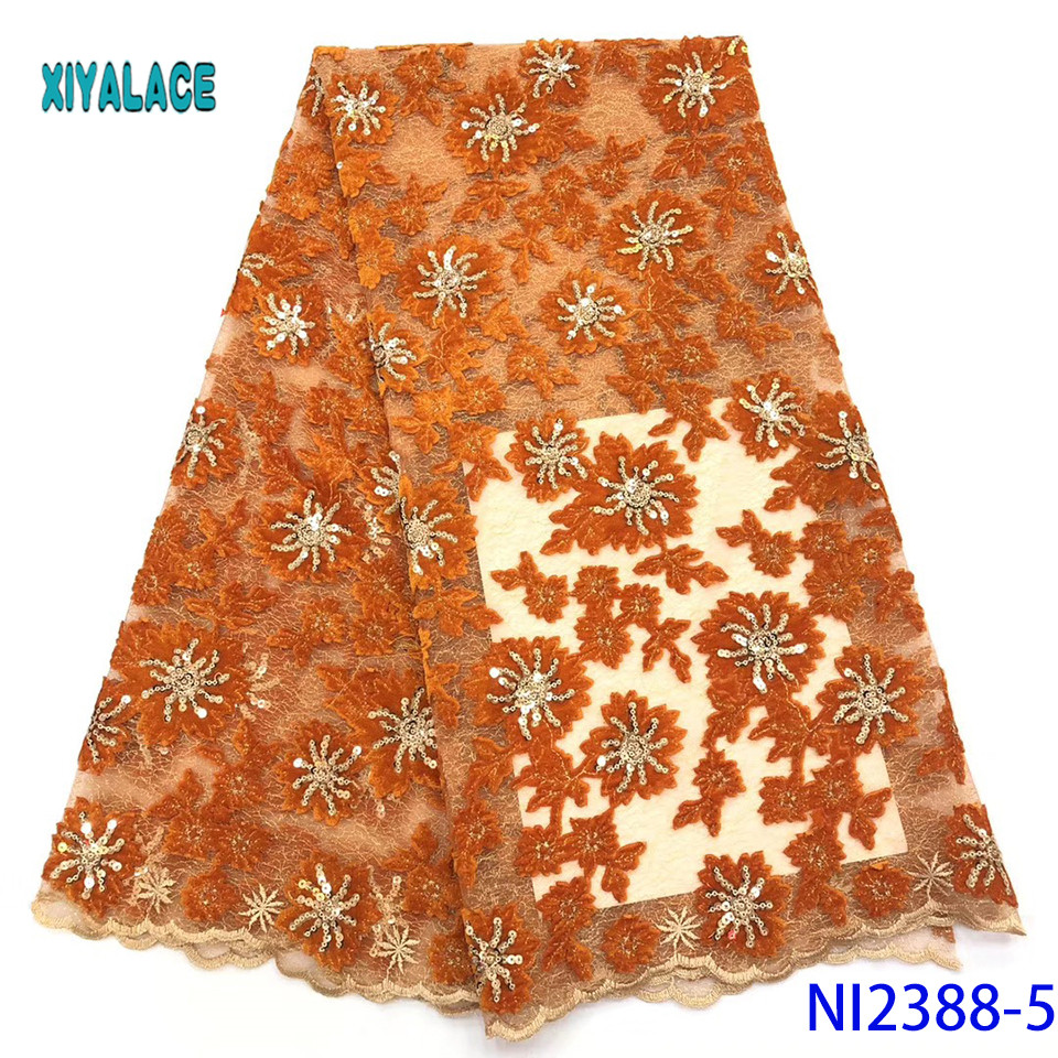 African Lace Fabric Golden Sequins Lace Fabric Embroidered Nigerian Net Laces Fabric Bridal High Quality French Tulle YANI2388-5