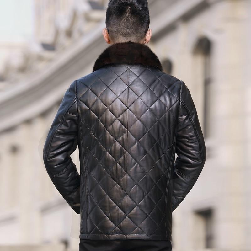 Genuine Leather Jacket Men Winter Down Jacket Men Sheepskin Coat Mink Fur Collar Chaqueta Cuero Hombre A14DY1280 YY305