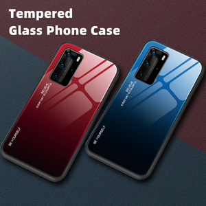 Gradient Tempered Glass For Huawei P40 Lite P30 Pro Case Soft Side Hard Back Cover For Huawei P20 Lite Mate 30 Lite Nova 5T