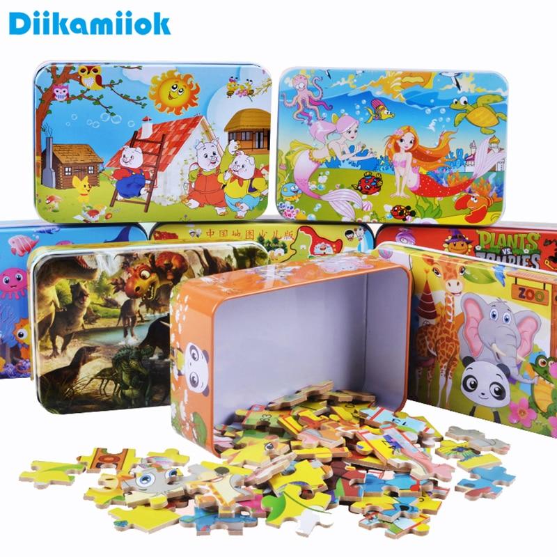 Quente 100 peças de madeira quebra-cabeça crianças dos desenhos animados animal dinossauro quebra-cabeças do bebê brinquedos educativos aprendizagem para crianças meninos meninas