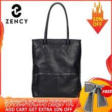 Zency Klassische Schwarz Frauen Handtasche 100% Echtem Leder Täglich Casual Tote Elegante Dame Schulter Taschen Großen Einkaufstaschen