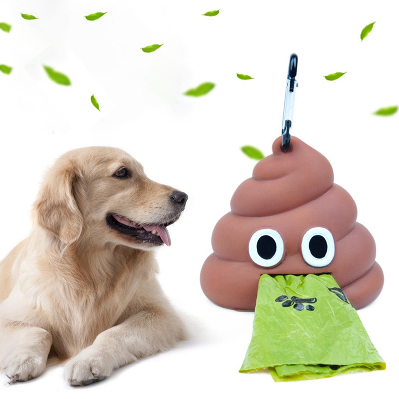 Puppy Dog Outdoor Walking Funny Stool Shaped Dog Poop Bag Dispenser With Key Chain Buckle Waste Bag Dispenser