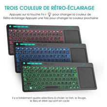 Rii K18 Plus Wireless Multimedia French AZERTY Keyboard 3 LED Color Backlit with Multi Touch for TV Box,PC