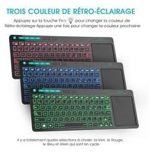Rii k18 além de multimídia sem fio francês azerty teclado 3-led cor retroiluminado com multi-toque para caixa de tv, pc