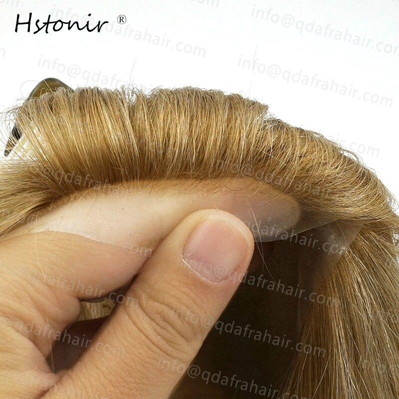 Hstonir Long Hair Natural Men And Women Wigs European Remy Hair Injection Thin Skin Toupee H076 - 6