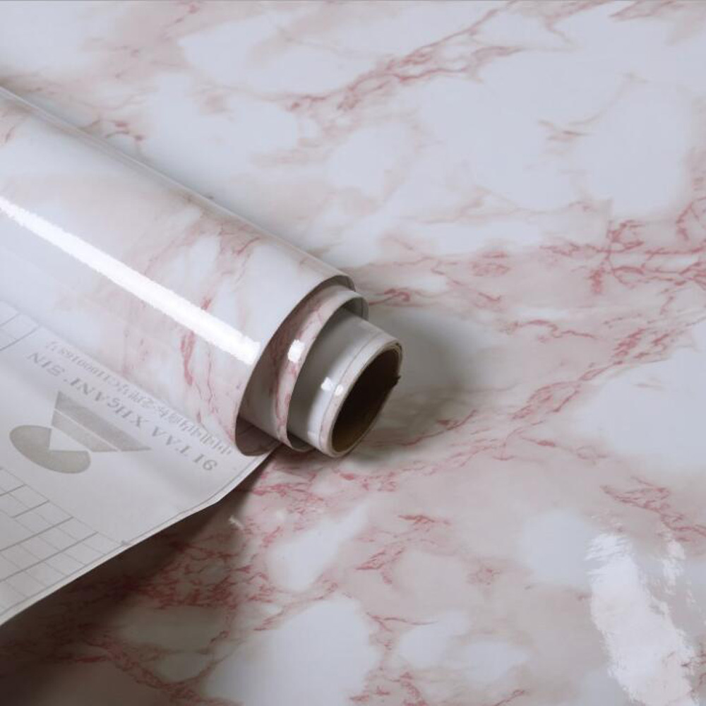Rol PVC Self Adhesive Wallpaper Marble Sticker Waterproof Heat Resistant Kitchen Countertops Table Furniture Cupboard Wall Paper