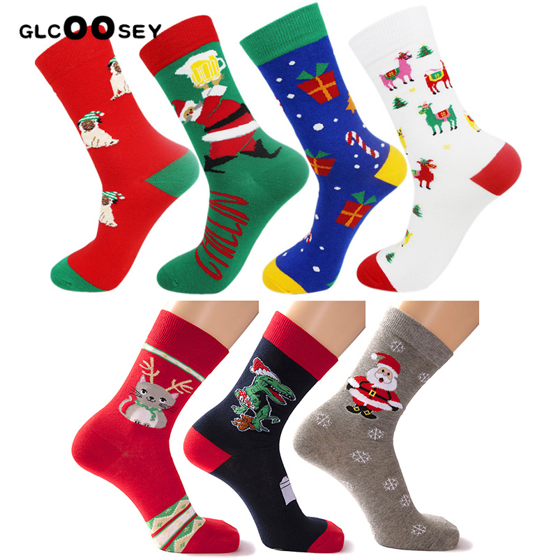 New Christmas Series Cotton Men Tube   Socks   Funny Happy Personality Cartoon Men's Long   Socks   absorbs Sweat Thicken Plus Sizes