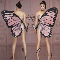 Female DJ DS Stage Performance Bodysuit Nightclub Singer Gogo Dancer Pole Dance Butterfly Wings One Piece Rave Outfit DQL3964