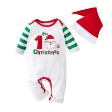 Комбинезон для малышей Рождественский комбинезон для новорожденных мальчиков и девочек на Рождество с рисунком в полоску комбинезон с длинными рукавами на зиму 15