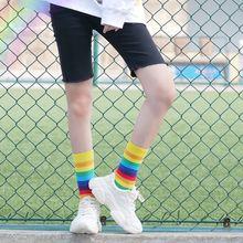 Fashion rainbow stripe cartoon tube female socks Japanese Harajuku trendy street Korean candy-colored