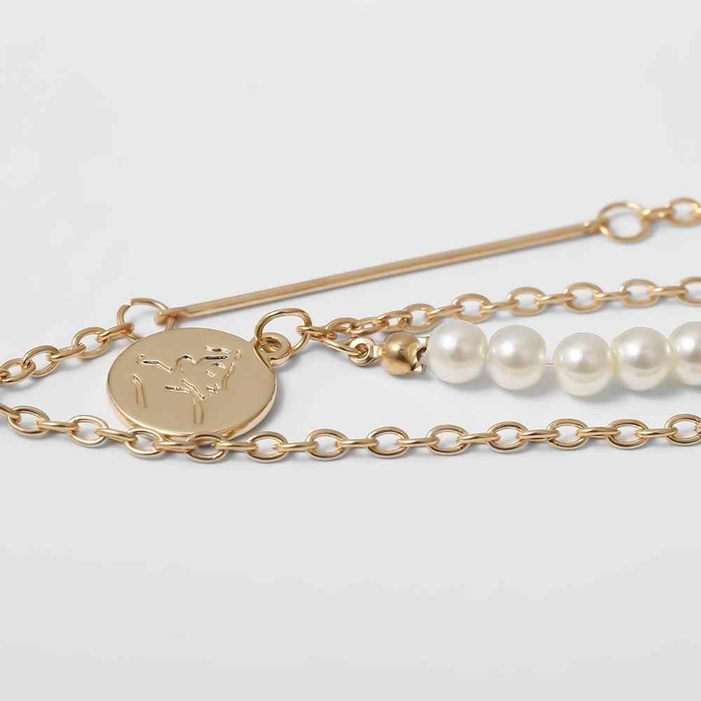 Ingemark パンク模造真珠ペンダントチョーカーネックレス結婚式の女性ヴィンテージコインロングチェーンネックレス女性のファッションネックジュエリー