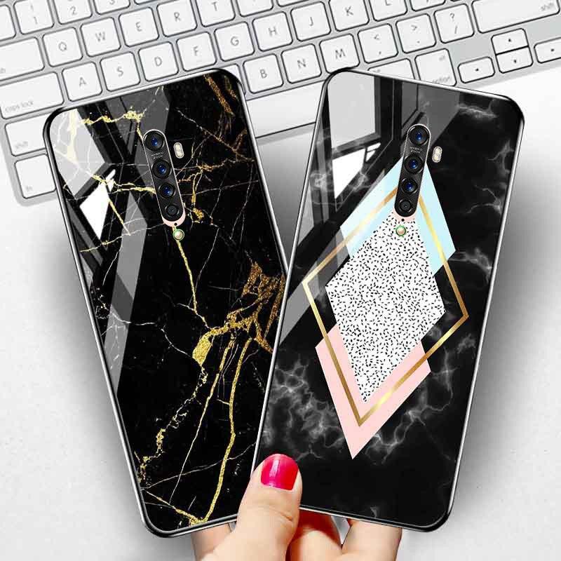 Marble Case For OPPO Reno Z Ace 2Z 2 10X Realme XT Case Cover Realme X Lite 5 3 Pro R9S R9 Plus R17 Pro R15 Tempered Glass Cover