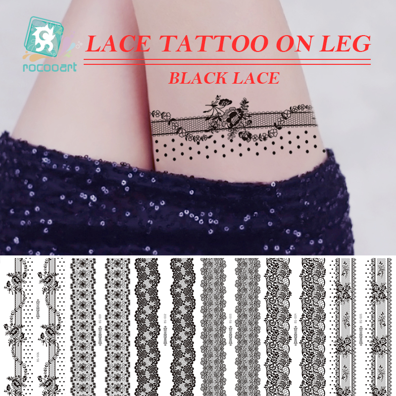 Rocooart Temporary Waterproof Tattoo Sticker For Women Sexy Black Flowers Butterfly Lace Tattoo Stickers On Leg Fake Tatouage