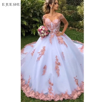 E JUE SHUNG White And pink Lace Appliques Luxury Ball Gown Wedding Dresses Off the Shoulder Bride Dresses Wedding Gowns