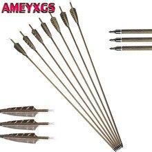 цена на 6/12pcs 30inch Archery Carbon Arrow Spine350 Wood Skin Pure Carbon Arrows 4