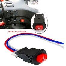 Diy motocicleta interruptor de luz de perigo botão duplo flash aviso de emergência lâmpada pisca sinal com 3 fios embutido bloqueio
