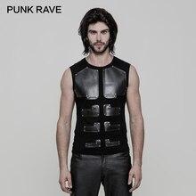 Camiseta PUNK RAVE Punk Rock de piel sintética para hombre, camiseta sin mangas ajustada de los guerreros arrafados, Tops elásticos de punto de algodón, camisetas