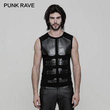 PUNK RAVE Punk Rock PU Leather Muscles Arrayed Warriors Skinny Sleeveless Men T shirt Elastic Cotton Knitted Tops Tees Clothing