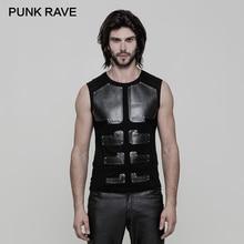 PUNK RAVE Punk Rock PU skórzane mięśnie Arrayed Warriors Skinny bez rękawów męska koszulka elastyczna bawełna bluzki z dzianiny Tees odzież