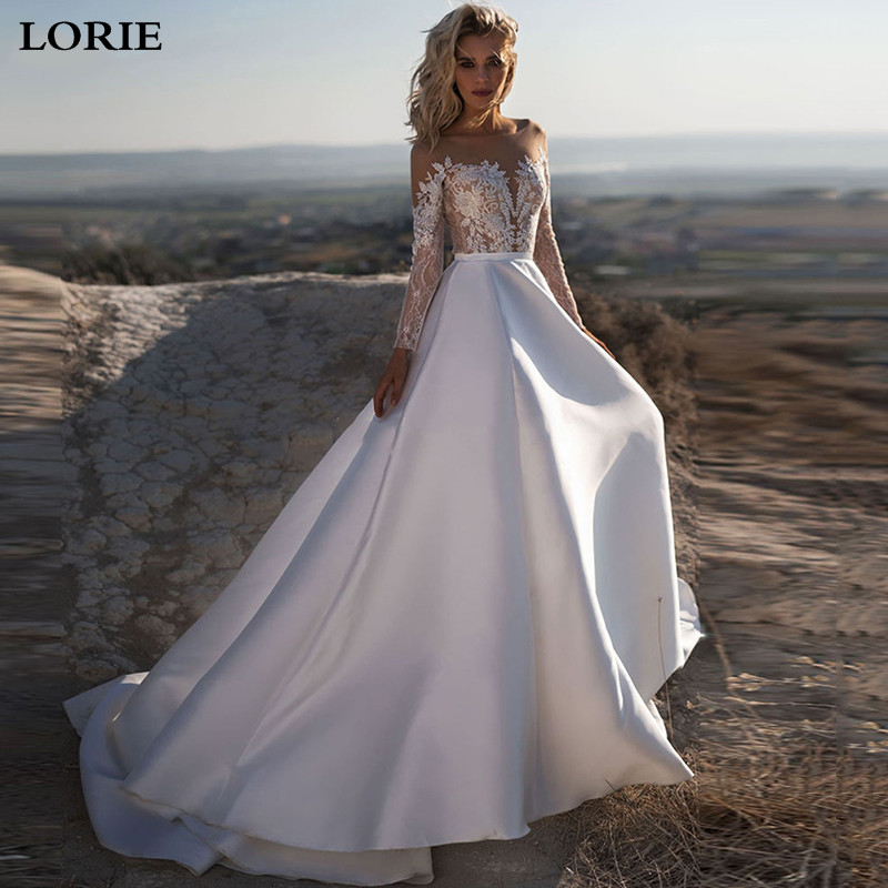 LORIE A Line Princess Wedding Dresses Long Sleeve Boho Lace Bride Gows Appliqued Satin Vestido De Voiva With Romantic Buttons