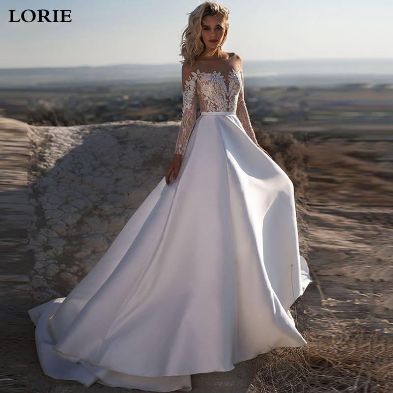 LORIE A Line Princess Wedding Dresses Long Sleeve Boho Lace Bride Gows Appliqued Satin Vestido De Voiva With Romantic Buttons