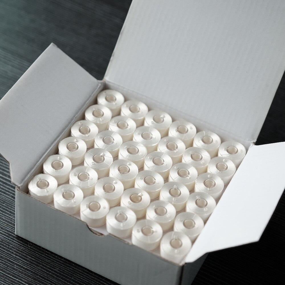 HH blanc un Style plastique face fil de canette pré-enroulé 75D/2 144 pièces par boîte Polyester Machine fil à broder