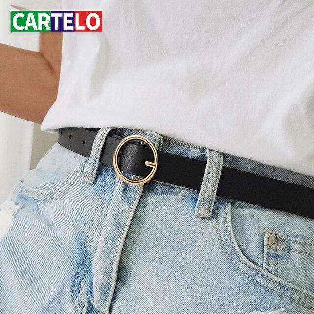 CARTELO Women s belt hot latest fashion design ring silver pin buckle retro simple punk ladies metal belt for jeans or dress