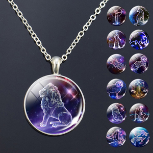 12 Zodiac Signs Glass Dome Constellations Pendant Necklace Fashion Jewelry Women Virgo Cancer Cancer Aries Gemini Birthday Gift