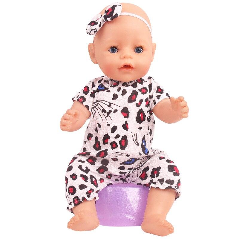 Weiße Katze Druck Floral Overall Neue Geboren Baby Puppe Kleidung für 18