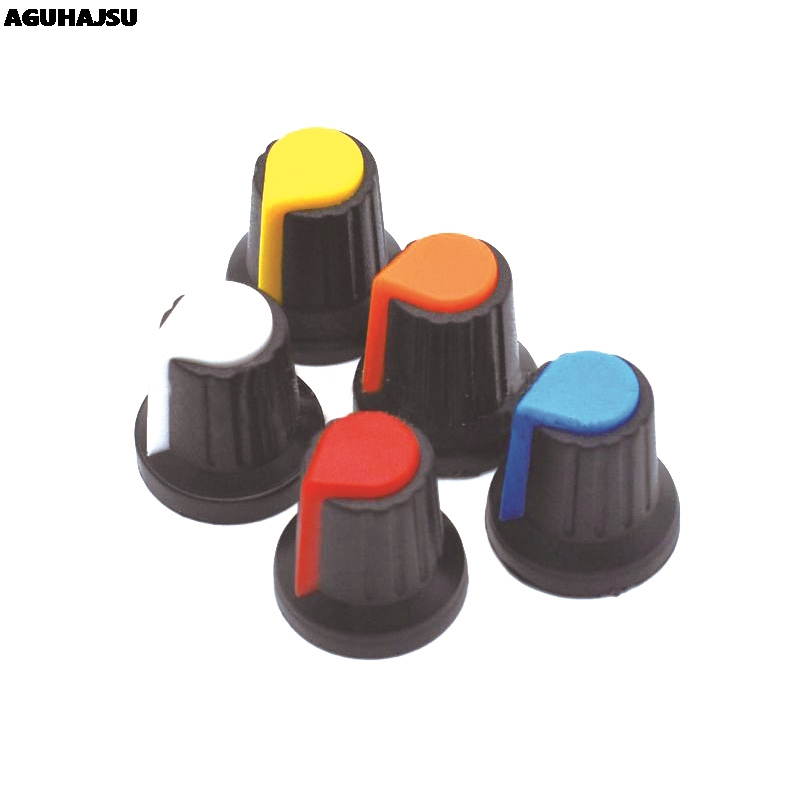 25PCS/lot WH148 Potentiometer Knob Cap(copper Core) 15X17mm 6mm Shaft Hole AG2 Yellow Orange Blue White Red 5colour*5PCS=25PCS