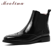 цена на Meotina Women Shoes Short Boots Genuine Leather Low Heel Chelsea Boots Round Toe Thick Heels Ankle Boots Ladies Autumn Black 39