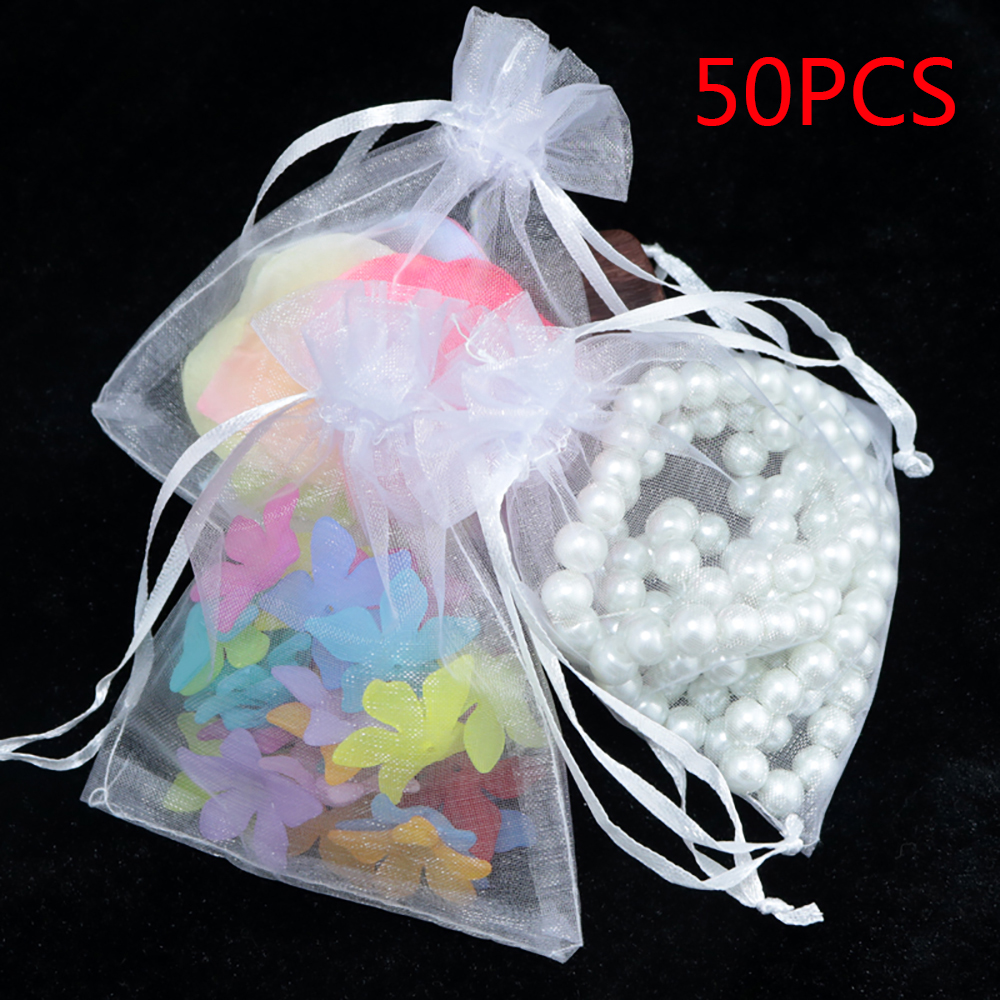 50pcs Organza Bag Sheer Gauze Element Jewelry Drawable Organza Bags Wedding Christmas Gift Bags 10x15cm 9x12cm 7x9cm