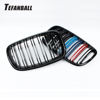 A Pair L+R Gloss Black Double Slat Kidney Grille With LOGO Front Grill For BMW X5 X6 E70 E71 2007 2013 Car Styling Racing Grills