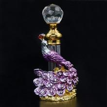 4ml antiguo Metal Pavo Real cristal modelado Vintage recargable vacío botella de Perfume creativo aceite esencial regalo botella de boda