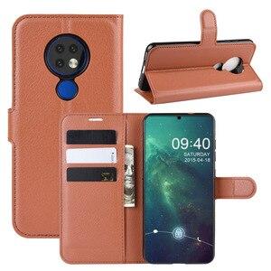 Image 2 - 50 unids/lote Litchi patrón Flip PU cuero billetera teléfono funda para Nokia 6,2 Lychee grano cubierta
