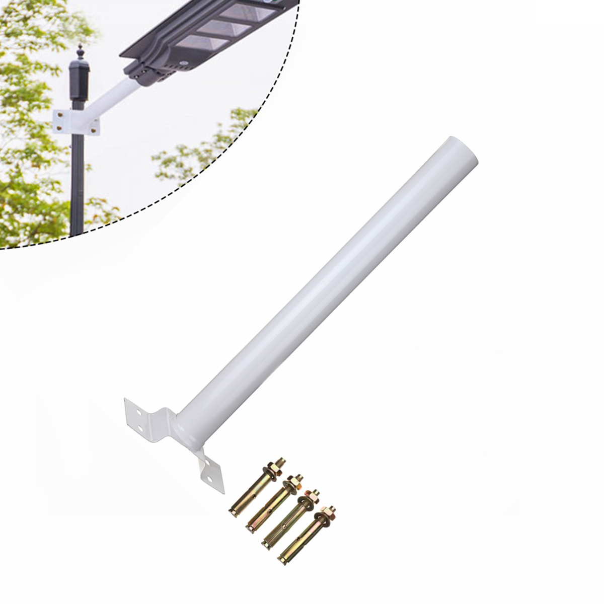500x50mm 60W 90W 120W LED Solar Street Light Support Btacket With Mounting Accessories White Color Installation Pole Frame