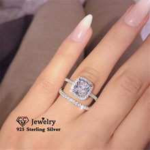 Cc conjuntos de anéis para mulher s925 prata casal zircônia cúbica conjunto anel de noivado casamento nupcial jóias finas transporte da gota cc2384